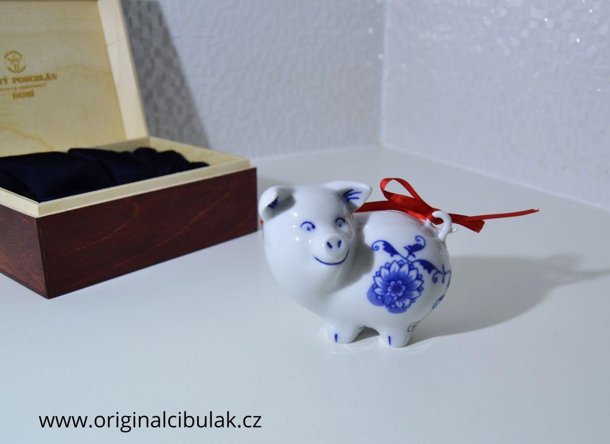 Cibulák Prasátko 8 cm originální cibulákový porcelán Dubí, cibulový vzor,