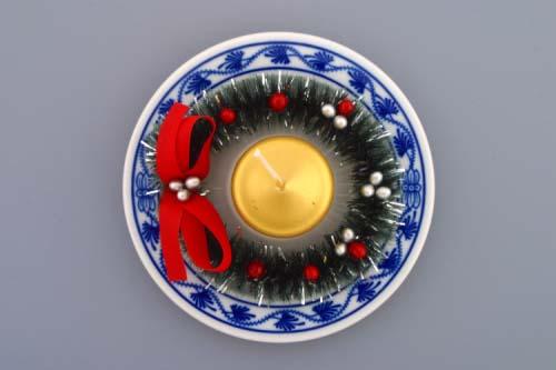 Cibulák Svícen vánoční osobní s věnečkem a svíčkou 13 cm originální cibulákový porcelán Dubí, cibulový vzor,