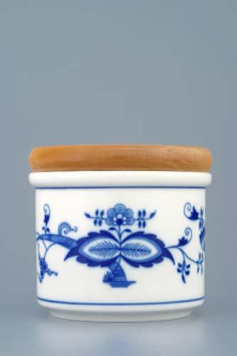 Cibulový porcelán dóza s dřevěným uzávěrem A malá 8 cm originální cibulákový porcelán Dubí, cibulový vzor,