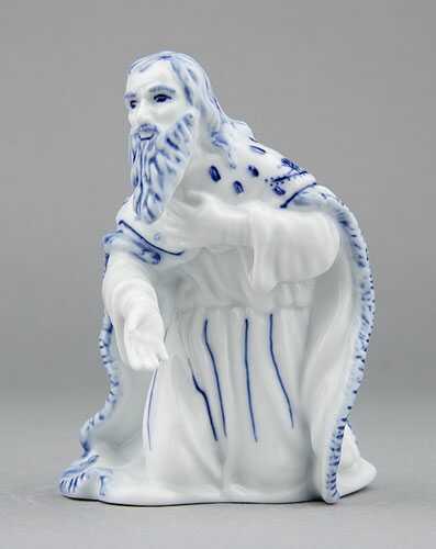 Cibulák Král Melichar 11,5 cm originální cibulákový porcelán Dubí, cibulový vzor,