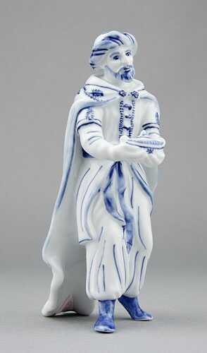 Cibulák Král Kašpar 16 cm originální cibulákový porcelán Dubí, cibulový vzor,