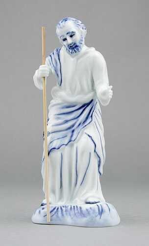 Cibulák Svatý Josef s holí, 15,5 cm, originální cibulákový porcelán Dubí, cibulový vzor,