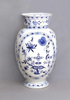 Cibulák Váza 1610, 48 cm originální cibulákový porcelán Dubí, cibulový vzor,