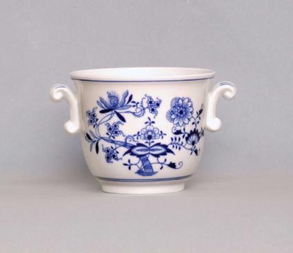 Cibulák Květináč malý s uchy 13 cm originální cibulákový porcelán Dubí, cibulový vzor,