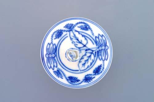 Cibulák Hořčičník s víčkem bez výřezu 0,10 l originální cibulákový porcelán Dubí, cibulový vzor