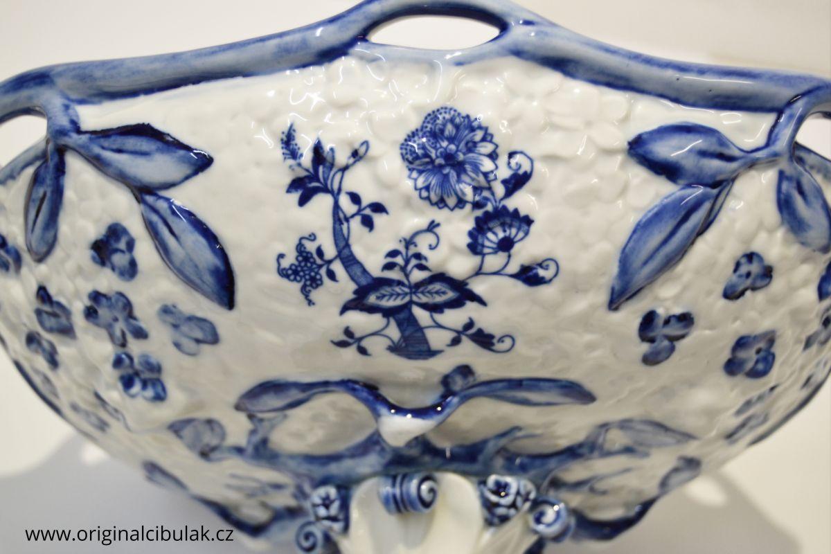Cibulák Mísa secesní na noze 25 cm originální cibulákový porcelán Dubí, cibulový vzor