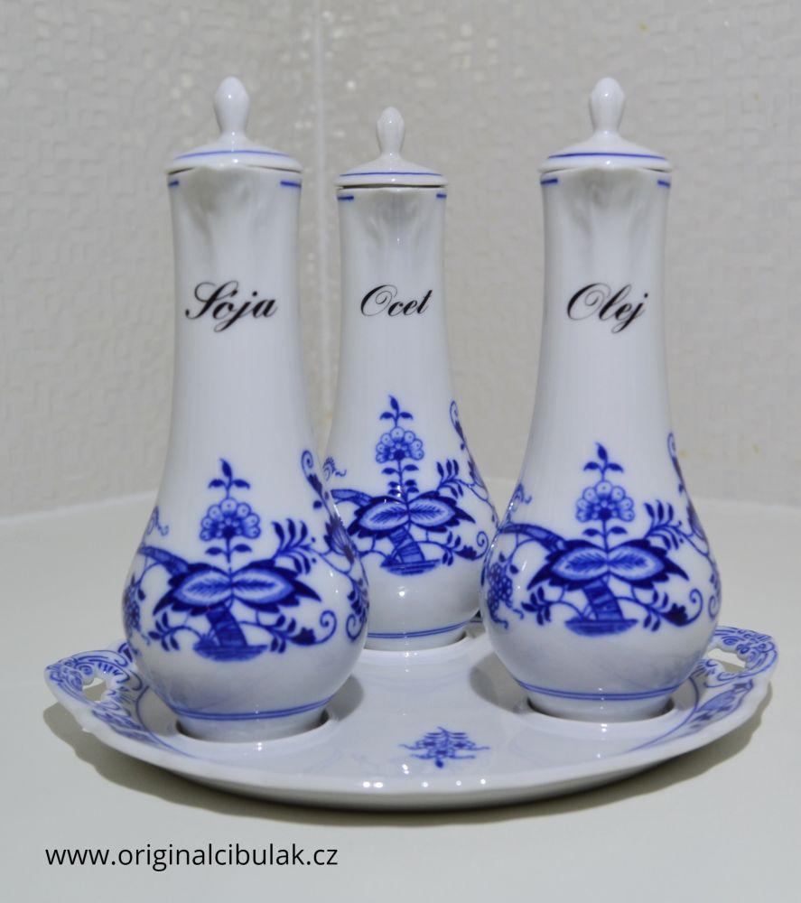 Cibulák Souprava karafová, originální cibulákový porcelán Dubí, cibulový vzor