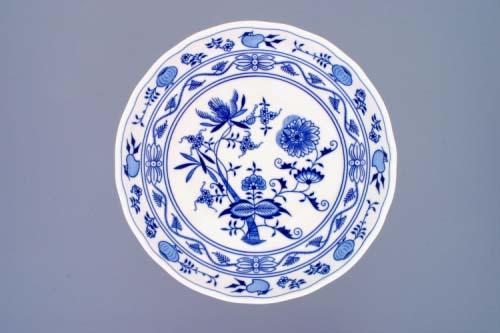 Cibulák Mísa kompotová oboustranná na ozdobné noze vysoké 26 cm originální cibulákový porcelán Dubí, cibulový vzor,