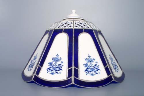 Cibulák stínítko vitráž prolamované, zvonek 9 stěn 33 cm originální cibulákový porcelán Dubí, cibulový vzor
