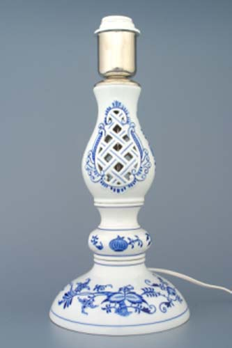 Lampa cibulák prolamovaná se stínítkem kašmír 48 cm originální cibulákový porcelán Dubí
