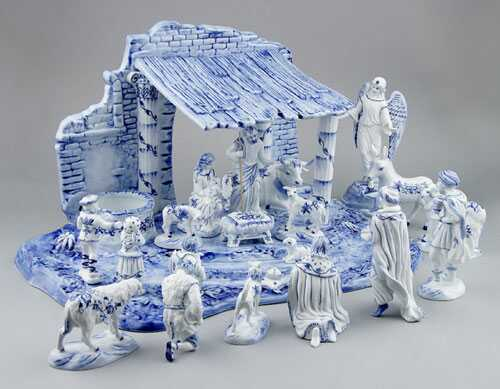 Cibulák Betlém s kobaltem, originální cibulákový porcelán Dubí, cibulový vzor