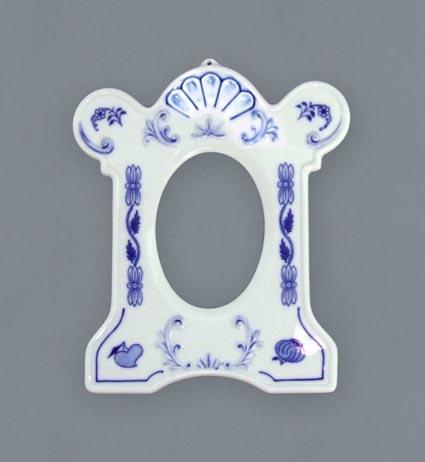 Cibulák Rámeček stojící na fotografii 9 x 7 cm, originální cibulákový porcelán Dubí, cibulový vzor