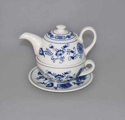 Cibulák Čajová souprava Duo třídílná 0,45 l originální cibulákový porcelán Dubí, cibulový vzor,