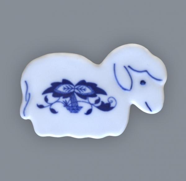 Cibulák Magnetka ovečka 6 cm originální cibulákový porcelán Dubí, cibulový vzor,