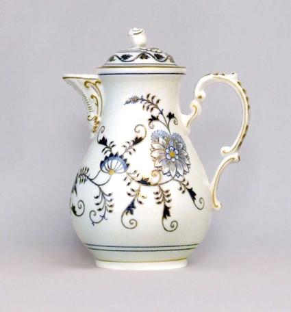 Konvice kávová s víčkem 1,55 l originální cibulák zlacený, cibulový porcelán Dubí