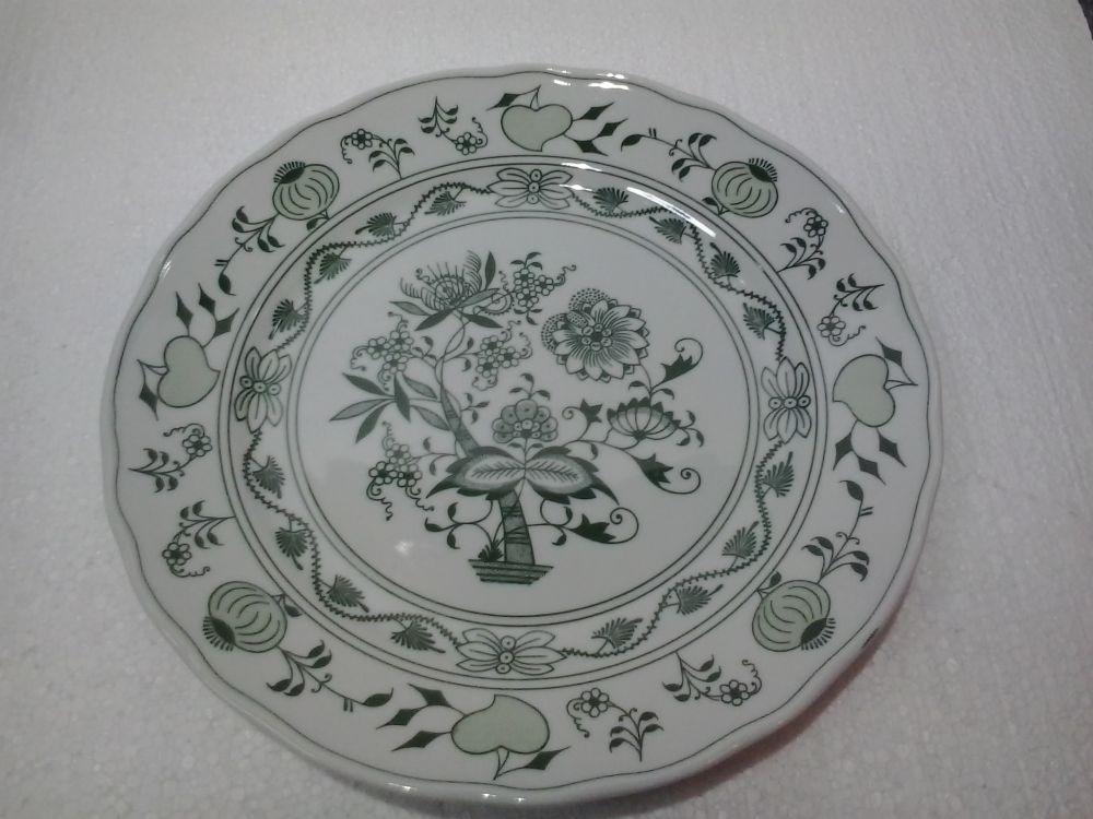 Talíř mělký 26 cm - zelený - originální cibulák,cibulový porcelán Dubí