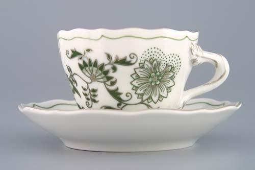 Šálek + podšálek A/1+A/1 0,12 l originální cibulák zelený s platinou, cibulový porcelán Dubí