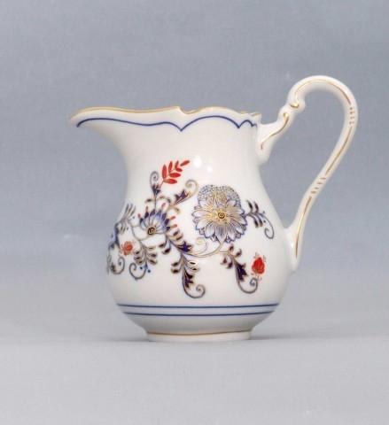 Mlékovka vysoká 0,16 l, originální cibulák zlacený s dekorací rubín, cibulový porcelán Dubí