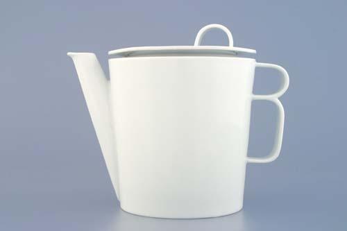 Konvice čaj - Bohemia White s víčkem velkým - design prof. arch. Jiří Pelcl, cibulový porcelán Dubí