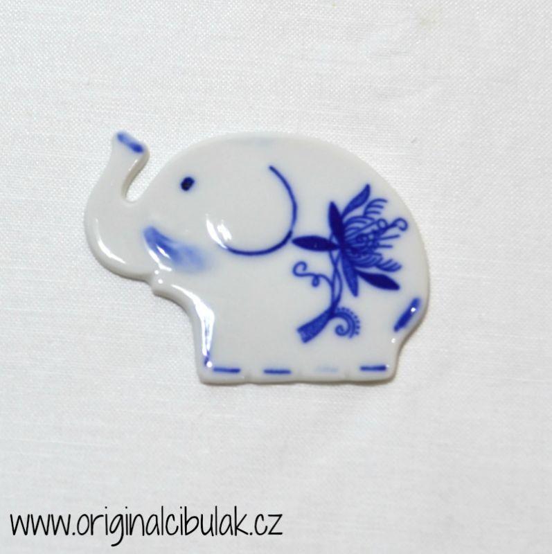 Cibulák Magnetka slůně 5,5 cm, originální cibulákový porcelán Dubí, cibulový vzor,