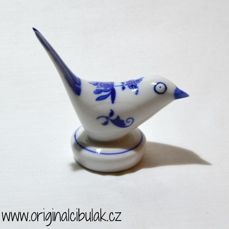 Cibulák Ptáček I, 9 cm originální cibulákový porcelán Dubí, cibulový vzor,