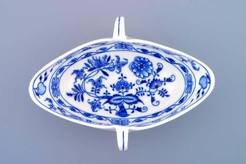 Cibulák omáčník oválný bez podstavce s dvěma uchy 0.55 l originální cibulákový porcelán Dubí, cibulový vzor