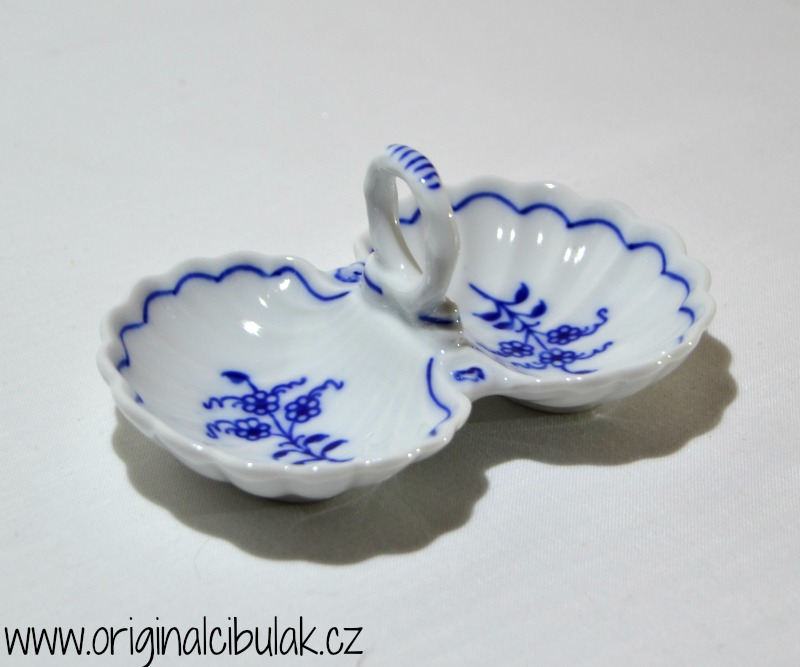 Cibulák Slánka dvoudílná s úchytkou 12 cm originální cibulákový porcelán Dubí cibulový vzor