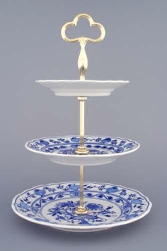 Cibulákový etažér 3-dílný- talíře plné, zlacená tyčka 35 cm originální cibulákový porcelán Dubí, cibulový vzor,