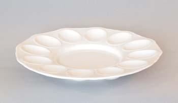 Podnos párty porcelán bílý na vejce 24,3 cm Český porcelán Dubí