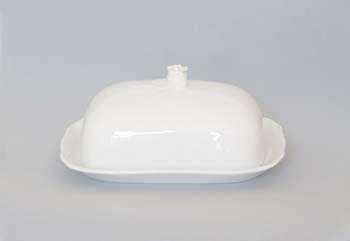 Máslenka porcelán bílý hranatá malá komplet 17 x 13 cm Český porcelán Dubí