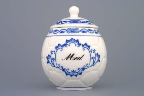 Víčko s výřezem k hrnku na med s nápisem Med cibulák 0,40 l originální cibulákový porcelán Dubí, cibulový vzor