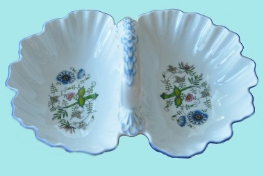 Kabaret 2-dílný 28 cm NATURE barevný cibulák, cibulový porcelán Dubí