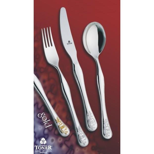 Příbory TONER Baroko Gold zlacená jídelní sada 24 ks pro 6 osob nerez 6009