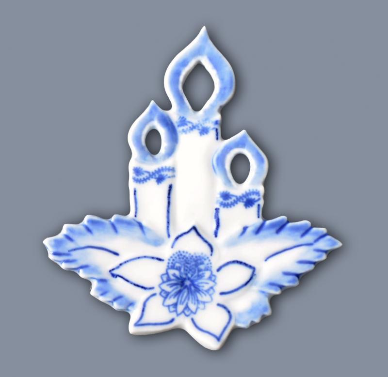 Cibulák Vánoční ozdoba svíčka 7,5 cm originální cibulákový porcelán Dubí, cibulový vzor,