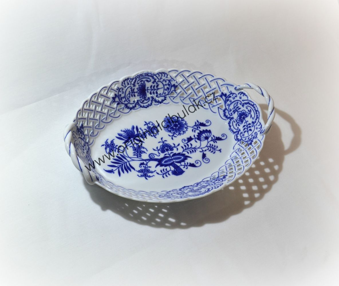 Cibulák košík prolamovaný 28 cm originální cibulákový porcelán Dubí, cibulový vzor,