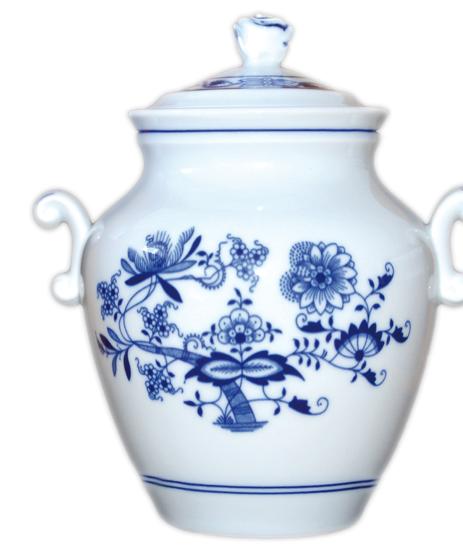 Cibulák Sádelňák s víkem 1,20 l originální cibulákový porcelán Dubí, cibulový vzor
