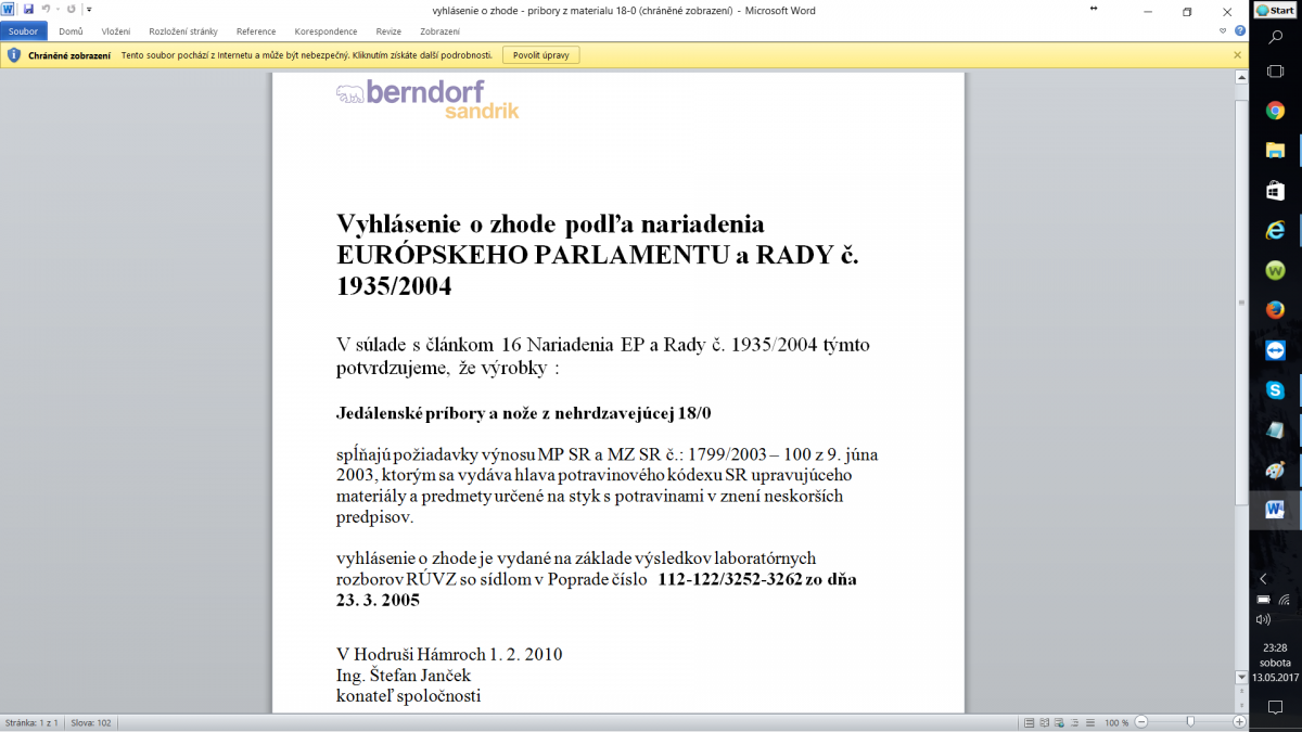 certifikat Berndorf Sandrik
