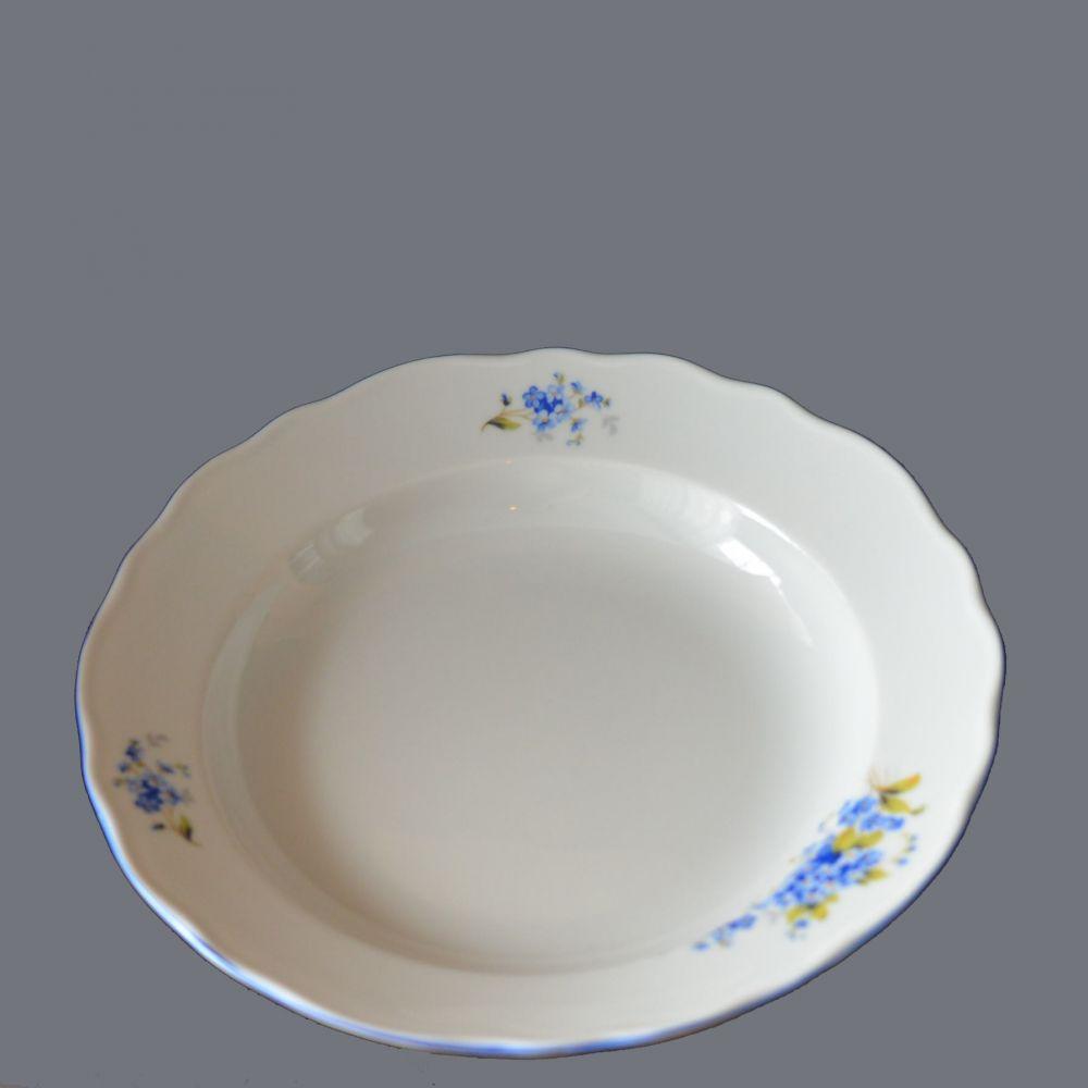 talíř pomněnky hluboký 24 cm modrá linka originální porcelán Dubí