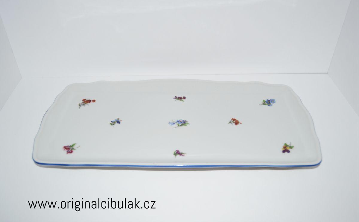 Podnos čtyřhranný 33 cm házenka Rakouská modrá linka porcelán Dubí