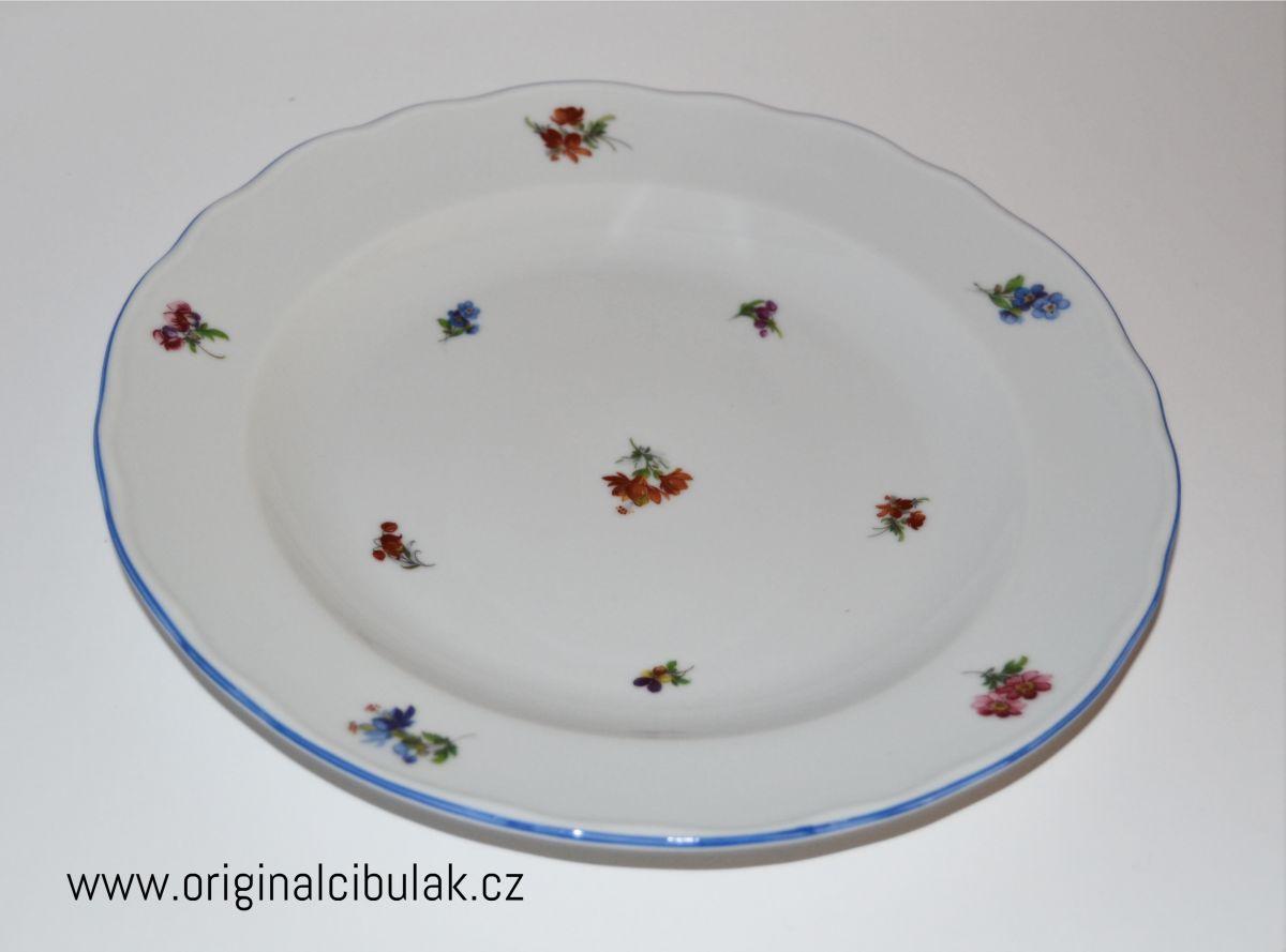 talíř házenka Rakouská mělký 24 cm modrá linka originální porcelán Dubí