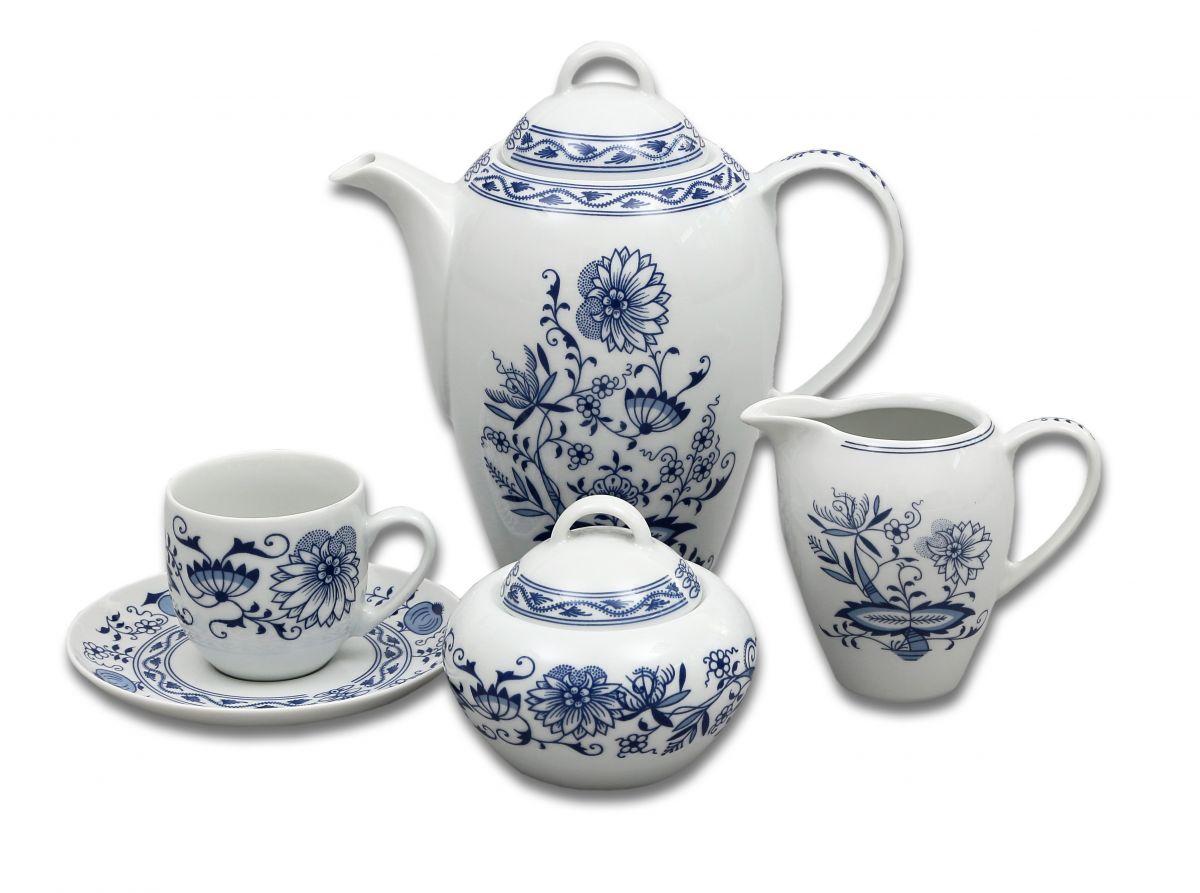 Henrieta cibulák kávová souprava Saphyr Thun 6 osob 15 dílů cibulákový porcelán Nová Role