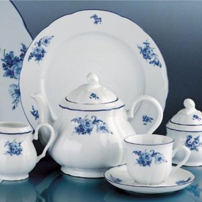 talířová souprava Rose růže modrá Thun a.s. 6 osob 18 dílů český porcelán Nová Role