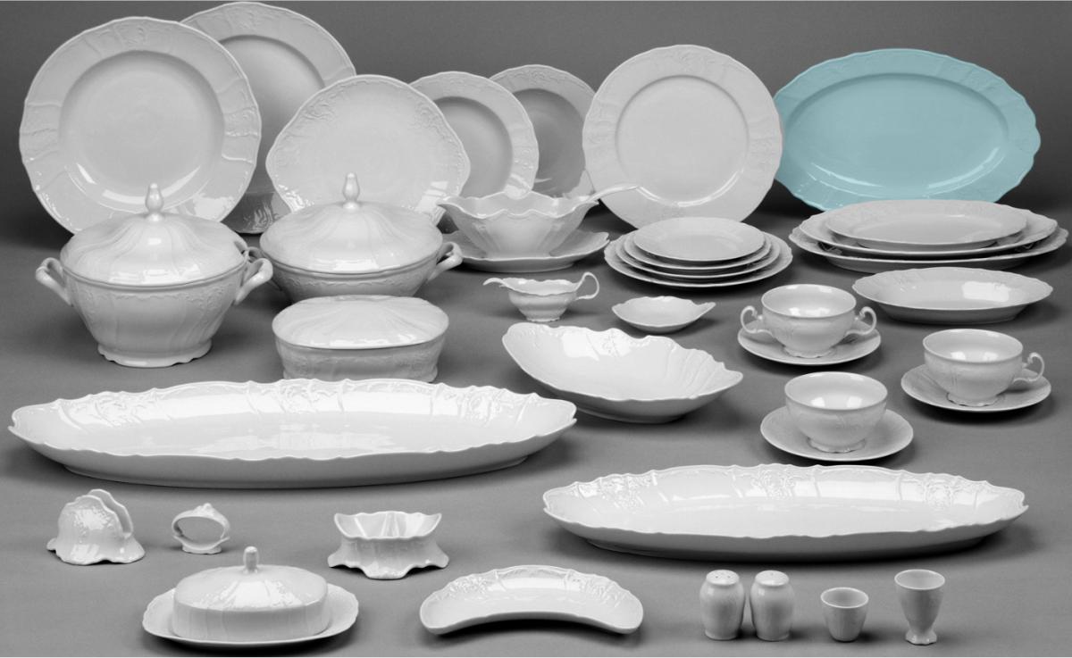 Myslivecký vzor Bernadotte čajová souprava porcelán Thun 6 osob 15 dílů český porcelán Nová Role