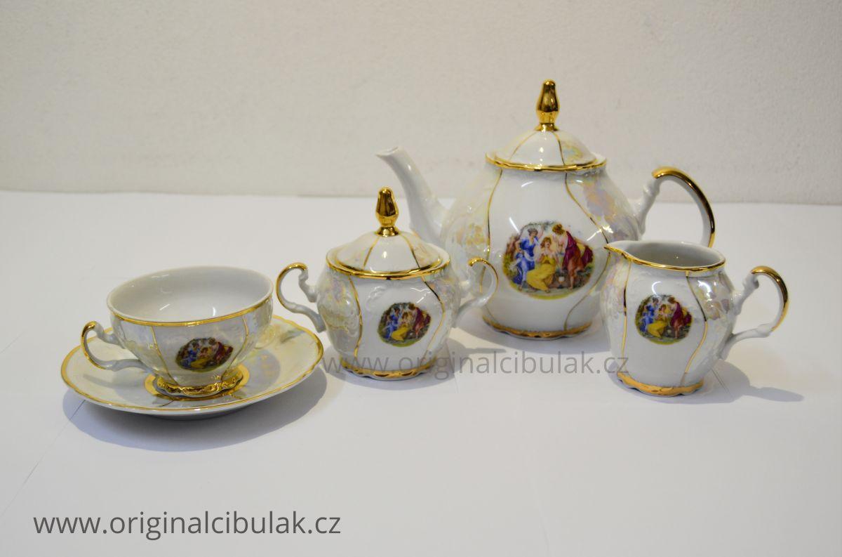 Bernadotte čajová souprava Tři Grácie Thun 6 osob 15 dílů český porcelán Nová Role