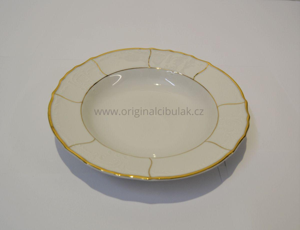 talířová souprava zlatý pruh porcelán Bernadotte Thun 6 osob 18 dílů český porcelán Nová Role