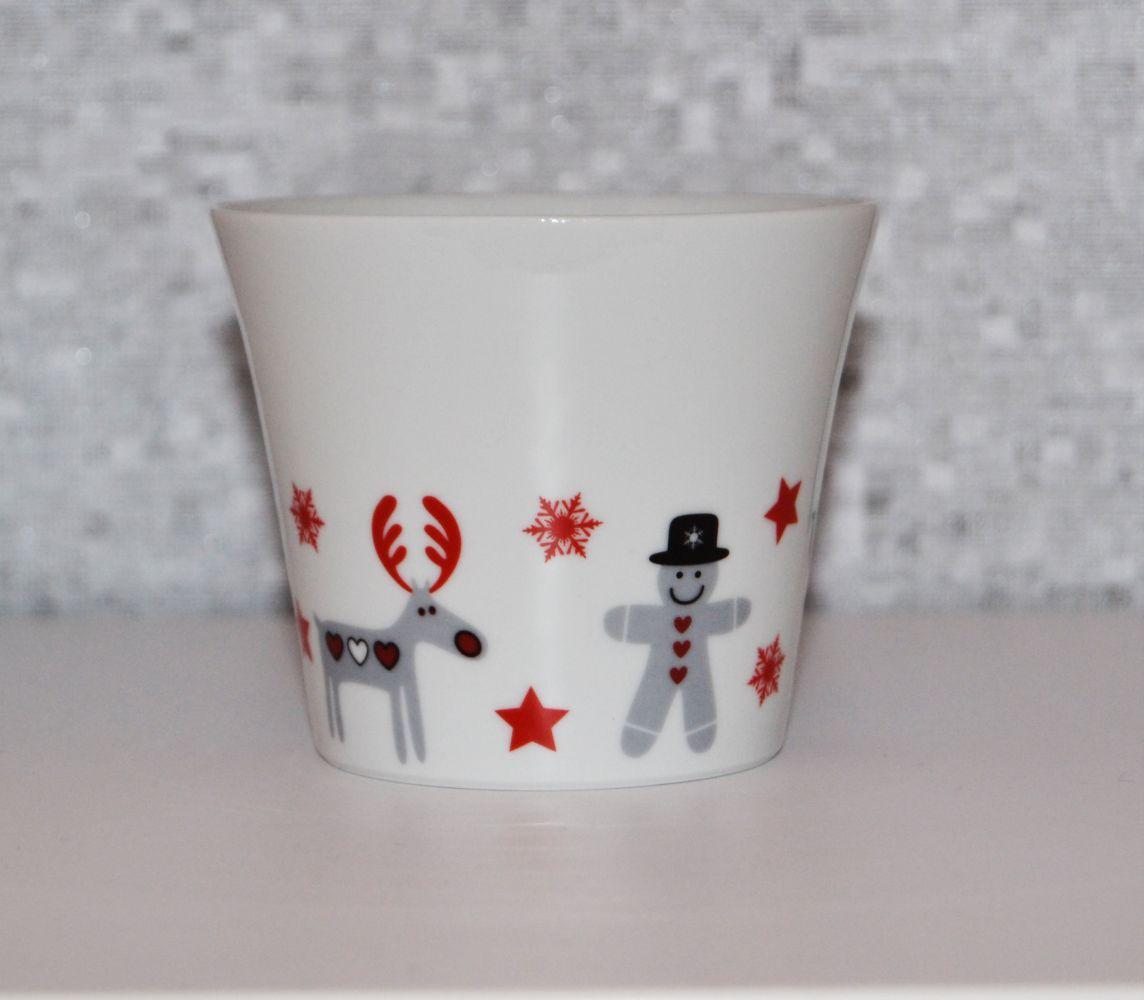 Průsvitka svícen vánoční motiv soba 9,5 cm český porcelán Dubí