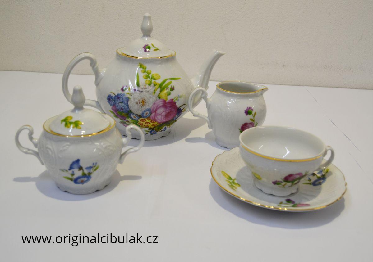 čajová souprava barevné kytky Bernadotte Thun 6 osob 15 dílů český porcelán Nová Role