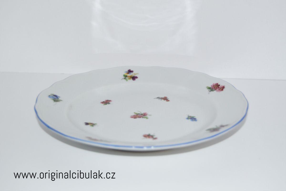 talíř dezertní 19 cm házenka Rakouská modrá linka český porcelán Dubí