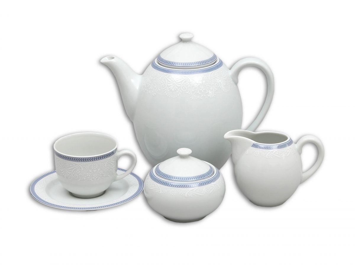 talíř hluboký 22 cm Opál krajka modrá Thun 1 ks český porcelán