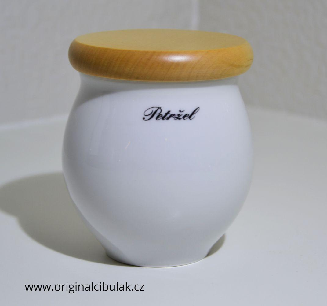 dóza Baňák s dřevěným uzávěrem Petržel bílá 10 cm český porcelán Dubí